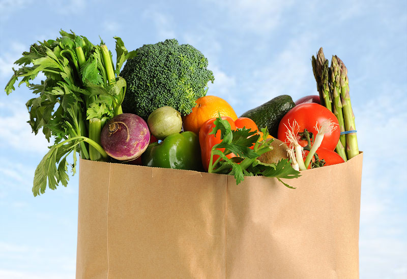 cal fresh produce in a grocery bag