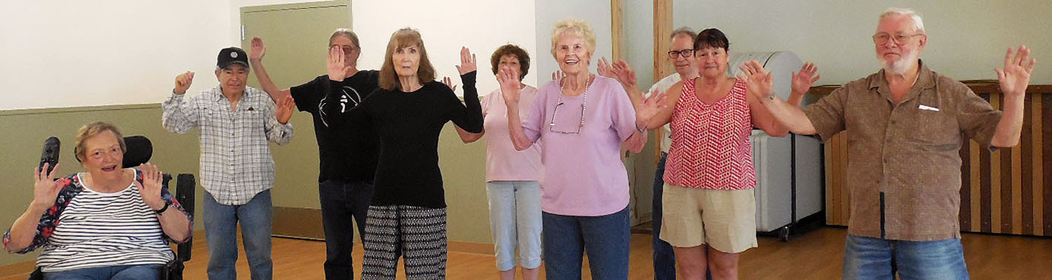 seniors in a tai chi class at nevada city senior center